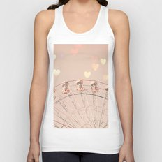 Ferris wheel nursery and heart bokeh on pale pink Unisex Tank Top
