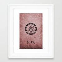 avatar the last airbender Framed Art Prints featuring Avatar Last Airbender Elements - Fire by bdubzgear