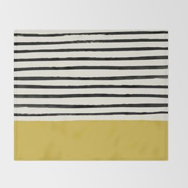 Mustard Yellow & Stripes Throw Blanket