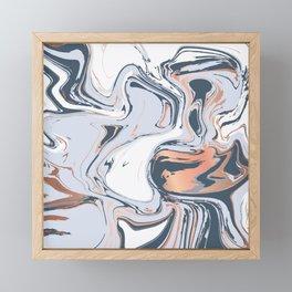 Copper Blues Liquid Marble 016 Framed Mini Art Print