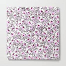 Cute Adorable Pink White Black Teddy Bear Collage Metal Print