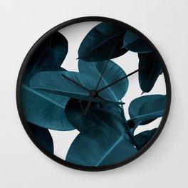 Indigo Blue Plant Leaves Wall Clock