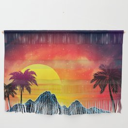 Sunset Vaporwave landscape with rocks and palms Wall Hanging