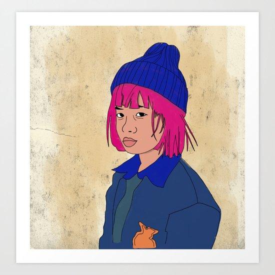 Pink haired girl Art Print