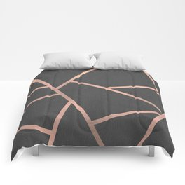 Dark Grey and Rose Gold Textured Fragments - Geometric Design Comforters