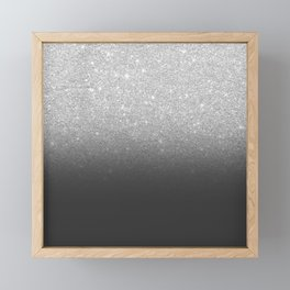 Modern faux silver glitter ombre grey black color block Framed Mini Art Print