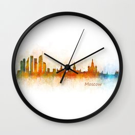 Moscow City Skyline art HQ v3 Wall Clock