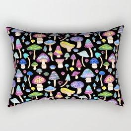 Colorful Mushroom Watercolor on Black Rectangular Pillow