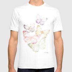 Butterflies Mens Fitted Tee MEDIUM White