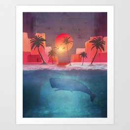 Tropical island and the whale Art Print