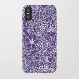 Modern white handdrawn floral pattern on purple ultra violet illustration iPhone Case