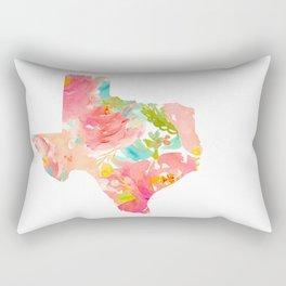 Texas Floral map state map print Rectangular Pillow