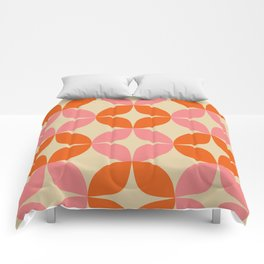 Mid Century Modern Pattern in Pink and Orange Comforters