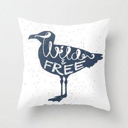 """Wild And Free"" Seagull Throw Pillow"