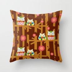 Owl Forest Throw Pillow