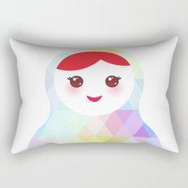 Russian doll matryoshka with bright rhombus on white background, rainbow pastel colors Rectangular Pillow