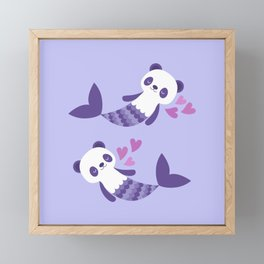 Cute purple merpandas Framed Mini Art Print