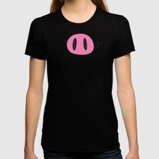 Happy Pig Minimalist MEDIUM Womens Fitted Tee Black