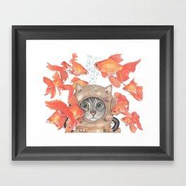 Scuba Cat Among the Fishes Framed Art Print