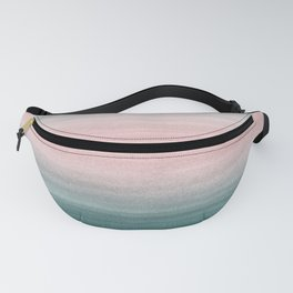 Touching Teal Blush Gray Watercolor Abstract #1 #painting #decor #art #society6 Fanny Pack