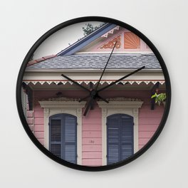 New Orleans Pink Creole Cottage Wall Clock