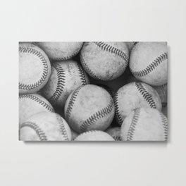 Baseballs Black & White Graphic Illustration Design Metal Print