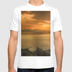 Sunset over Lismore Island of the shores of Oban in the west of Scotland. Mens Fitted Tee White MEDIUM