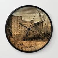 cityscape Wall Clocks featuring Cityscape by The Strange Days Of Gothicrow