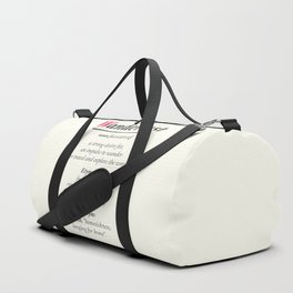 Wanderlust, dictionary definition, word meaning, travel the world, go on adventures Duffle Bag