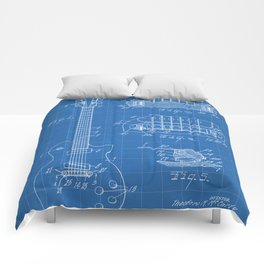 Gibson Guitar Patent - Les Paul Guitar Art - Blueprint Comforters