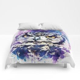 owl watercolor Comforters