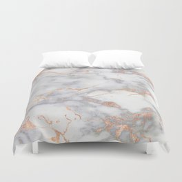 Grey Marble Rosegold  Pink Metallic Foil Style Duvet Cover