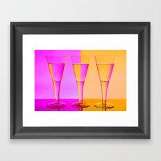 Three Coloured / Colored Wine Glasses  Framed Art Print