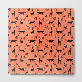 Animal kingdom. Black silhouettes of wild animals. African giraffes, leopards, cheetahs. snakes, exotic tropical birds. Tribal primitive ethnic nature coral red grunge distressed pattern. Metal Print