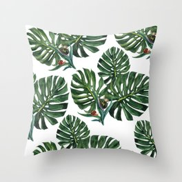 Monstera leaf with snails Throw Pillow
