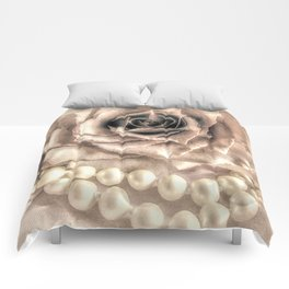 Rose Flower & Pearls Modern Cottage Decor Modern Country Art A432 Comforters