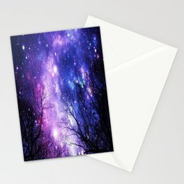 Black Trees Purple Blue Space Stationery Cards