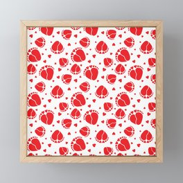 Baby Feet and Hearts Seamless Pattern in red color Framed Mini Art Print