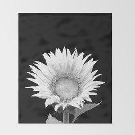 White Sunflower Black Background Throw Blanket