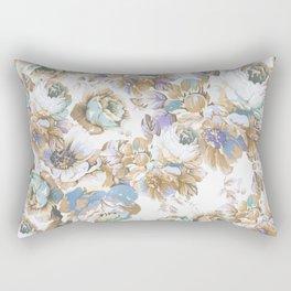 Vintage blush lavender brown teal blue roses floral Rectangular Pillow