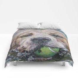 GOLDEN RETRIEVER dog portrait painting by L.A.Shepard fine art Comforters