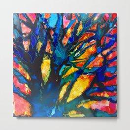 red sky blue trees_katallie Metal Print