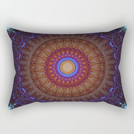 Mandala in blue,red and orange tones Rectangular Pillow