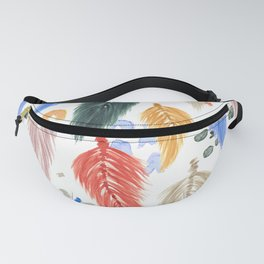 Watercolor Macrame Feathers + Dots in Earthtone Rainbow Fanny Pack