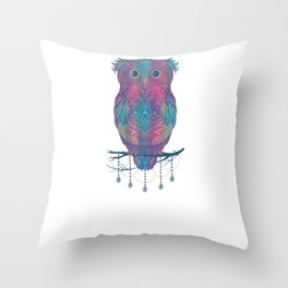 I Just Really Love Owls, OK? Colorful Owl Throw Pillow