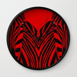 Art print: Red zebra pop art Wall Clock