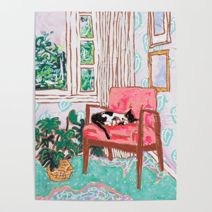 Little Naps - Tuxedo Cat Napping in a Pink Mid-Century Chair by the Window Poster