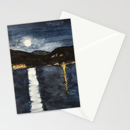 full moon by the sea Stationery Cards