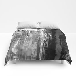 Ghost Town // black and white abstract ink painting Comforters