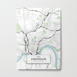 Cincinnati, Ohio City Map with GPS Coordinates Metal Print
